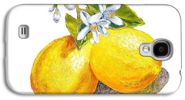 Galaxy S4 Case featuring the painting Lemons And Blossoms by Irina Sztukowski
