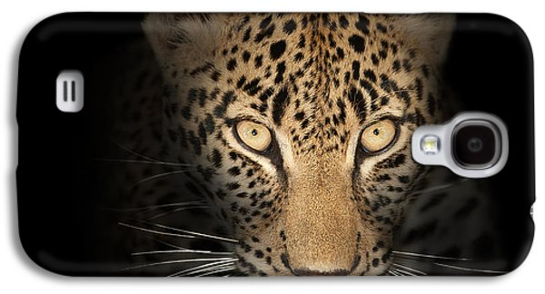Cat Galaxy S4 Case - Leopard In The Dark by Johan Swanepoel