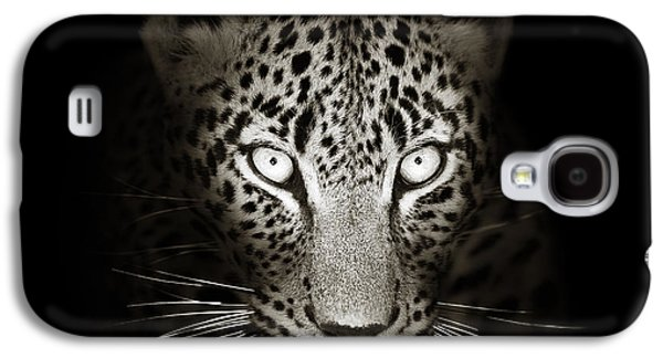 Leopard Portrait In The Dark Galaxy S4 Case by Johan Swanepoel