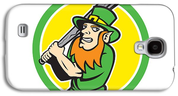Leprechaun Baseball Hitter Batting Circle Retro Galaxy S4 Case by Aloysius Patrimonio