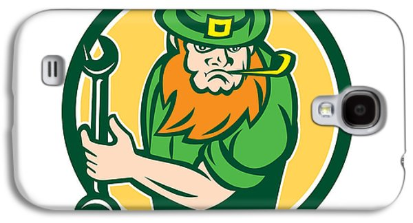 Leprechaun Mechanic Spanner Circle Retro Galaxy S4 Case by Aloysius Patrimonio
