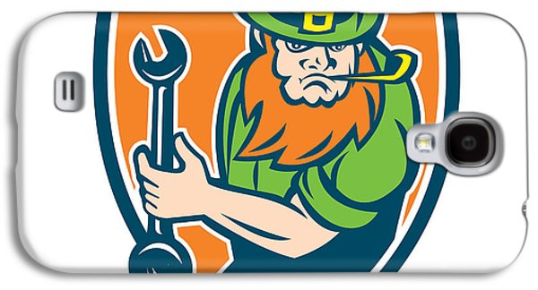 Leprechaun Mechanic Spanner Shield Retro Galaxy S4 Case by Aloysius Patrimonio