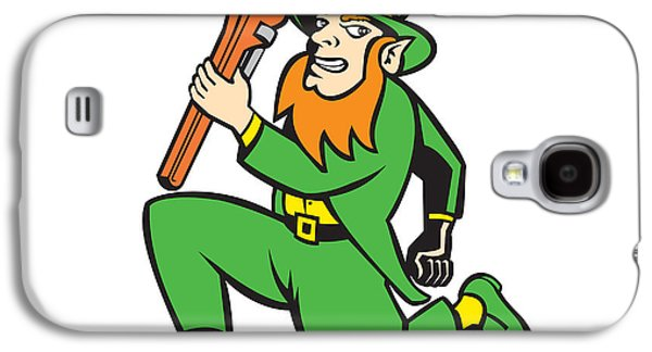 Leprechaun Plumber Wrench Running Retro Galaxy S4 Case by Aloysius Patrimonio