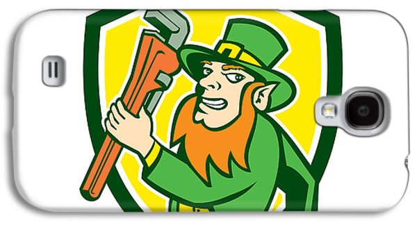 Leprechaun Plumber Wrench Running Shield Galaxy S4 Case by Aloysius Patrimonio