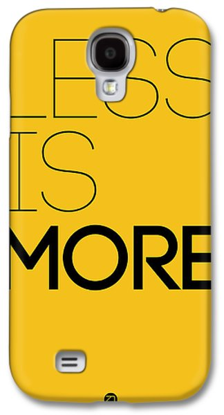 Less Is More Poster Yellow Galaxy S4 Case by Naxart Studio