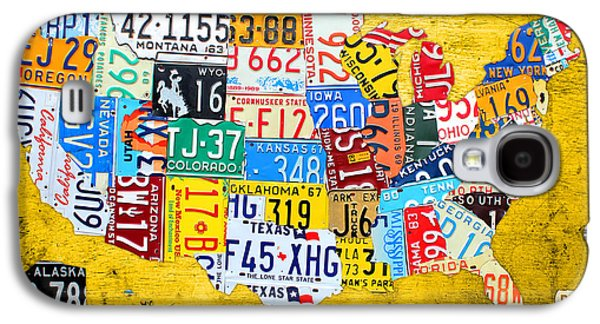 License Plate Art Map Of The United States On Yellow Board Galaxy S4 Case by Design Turnpike