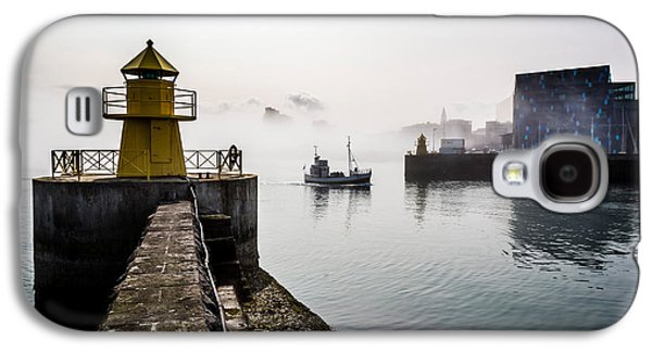 Lighthouse In Reykjavik Harbor, Harpa Galaxy S4 Case by Panoramic Images