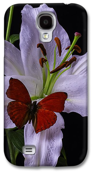 Lily With Red Butterfly Galaxy S4 Case