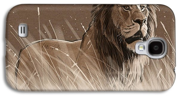 Lion In The Grass Galaxy S4 Case by Aaron Blaise