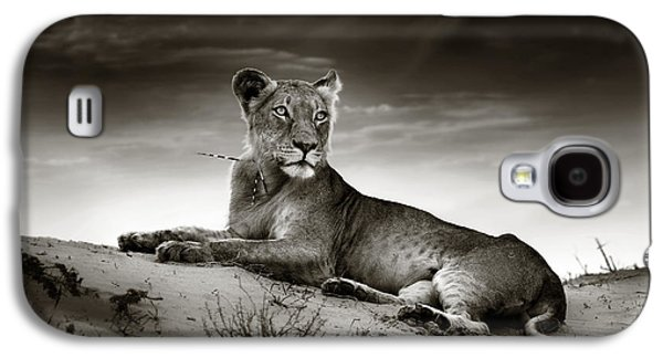 Cat Galaxy S4 Case - Lioness On Desert Dune by Johan Swanepoel