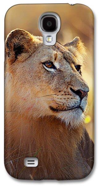 Lioness Portrait Lying In Grass Galaxy S4 Case by Johan Swanepoel