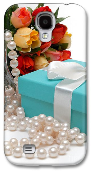 Little Blue Gift Box With Pearls And Flowers Galaxy S4 Case by Amy Cicconi