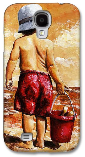 Little Boy On The Beach II Galaxy S4 Case by Emerico Imre Toth