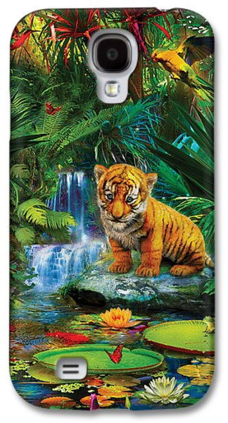 Galaxy S4 Case featuring the drawing Little Tiger by Jan Patrik Krasny