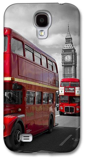 London Red Buses On Westminster Bridge Galaxy S4 Case by Melanie Viola