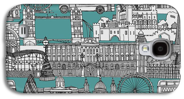 London Toile Blue Galaxy S4 Case by Sharon Turner