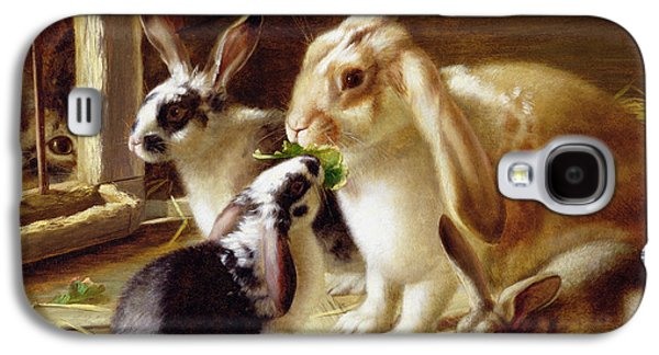 Long-eared Rabbits In A Cage Watched By A Cat Galaxy S4 Case by Horatio Henry Couldery