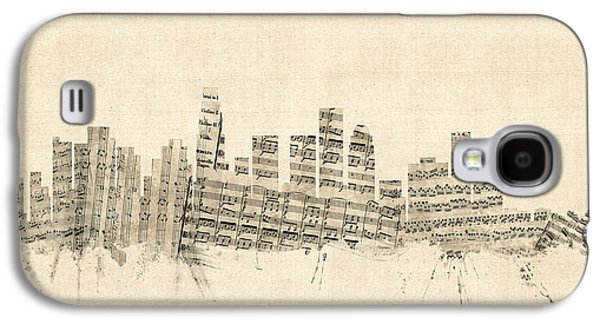 Los Angeles California Skyline Sheet Music Cityscape Galaxy S4 Case by Michael Tompsett