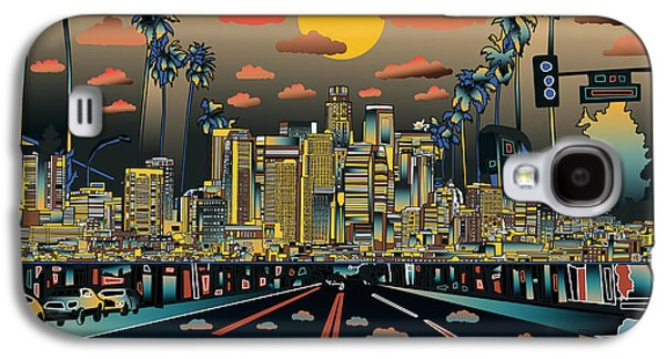 Los Angeles Skyline Abstract 2 Galaxy S4 Case by Bekim Art