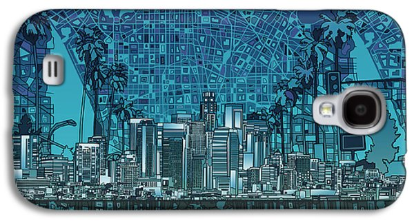 Los Angeles Skyline Abstract 5 Galaxy S4 Case by Bekim Art