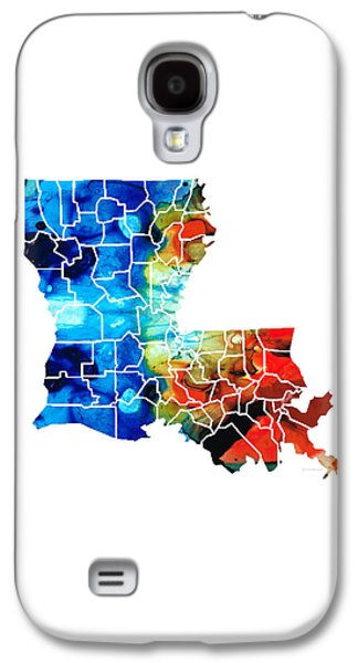 Louisiana Map - State Maps By Sharon Cummings Galaxy S4 Case by Sharon Cummings