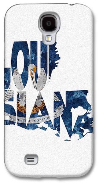 Louisiana Typographic Map Flag Galaxy S4 Case