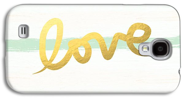 Love In Mint And Gold Galaxy S4 Case