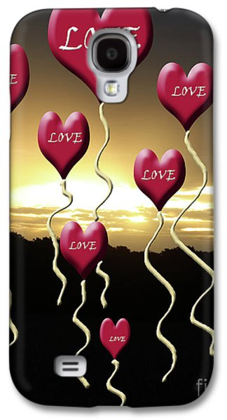 Love Is In The Air Golden Silhouette Galaxy S4 Case by Cathy  Beharriell