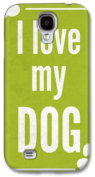 Love My Dog Green Galaxy S4 Case by Sd Graphics Studio