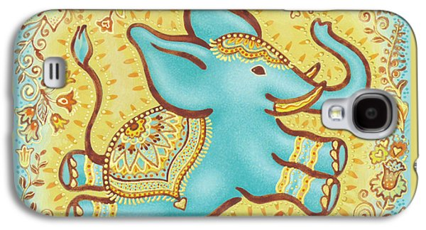 Lucky Elephant Turquoise Galaxy S4 Case by Judith Grzimek