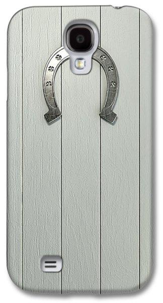 Lucky Horseshoe On Wood Galaxy S4 Case by Allan Swart