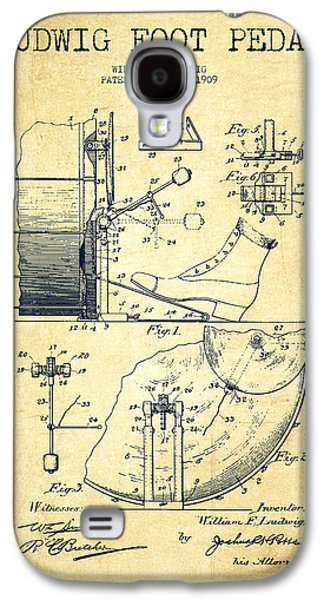 Folk Art Galaxy S4 Case - Ludwig Foot Pedal Patent Drawing From 1909 - Vintage by Aged Pixel