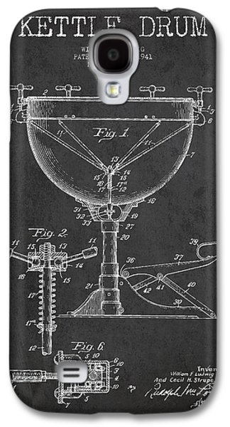 Drum Galaxy S4 Case - Ludwig Kettle Drum Drum Patent Drawing From 1941 - Dark by Aged Pixel