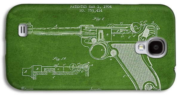 Lugar Small Arms Patent Drawing From 1904 - Green Galaxy S4 Case by Aged Pixel