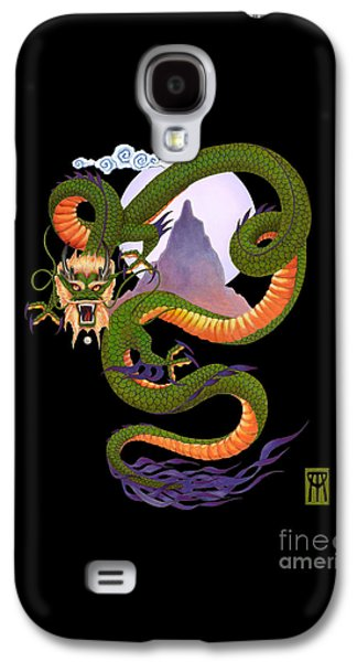 Lunar Chinese Dragon On Black Galaxy S4 Case by Melissa A Benson