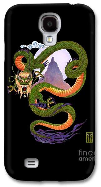 Dragon Galaxy S4 Case - Lunar Chinese Dragon On Black by Melissa A Benson