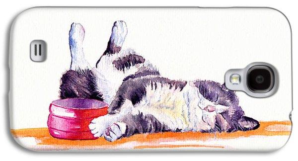 Cat Galaxy S4 Case - Lunch Break by Debra Hall