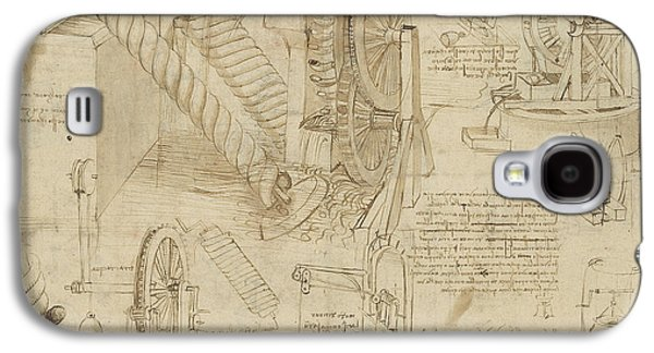 Machines To Lift Water Draw Water From Well And Bring It Into Houses From Atlantic Codex  Galaxy S4 Case by Leonardo Da Vinci