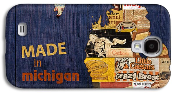 Made In Michigan Products Vintage Map On Wood Galaxy S4 Case