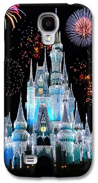 Magician Galaxy S4 Case - Magic Kingdom Castle In Frosty Light Blue With Fireworks 06 by Thomas Woolworth