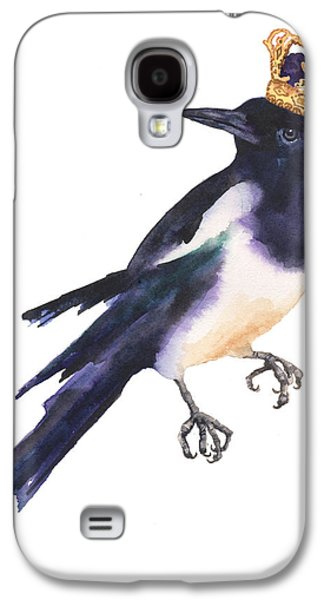 Magpie Watercolor Galaxy S4 Case by Alison Fennell