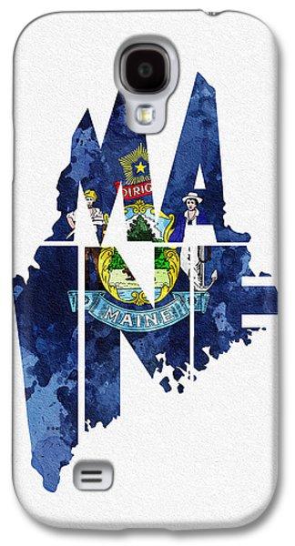 Maine Typographic Map Flag Galaxy S4 Case by Ayse Deniz