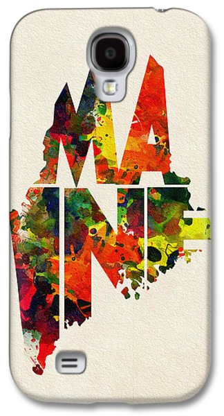 Maine Typographic Watercolor Map Galaxy S4 Case by Ayse Deniz
