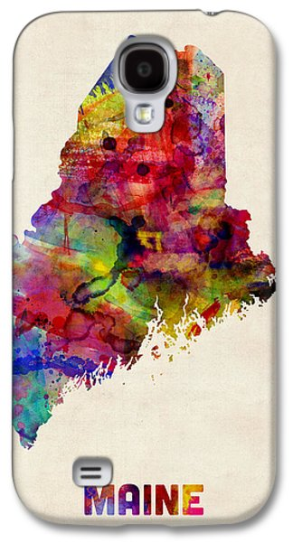 Maine Watercolor Map Galaxy S4 Case by Michael Tompsett