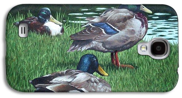 Mallards On River Bank Galaxy S4 Case by Martin Davey