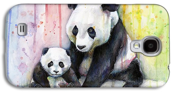 Panda Watercolor Mom And Baby Galaxy S4 Case