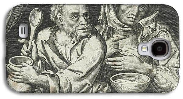 Man And Woman Eating Porridge, Nicolaes De Bruyn Galaxy S4 Case by Nicolaes De Bruyn And Assuerus Van Londerseel