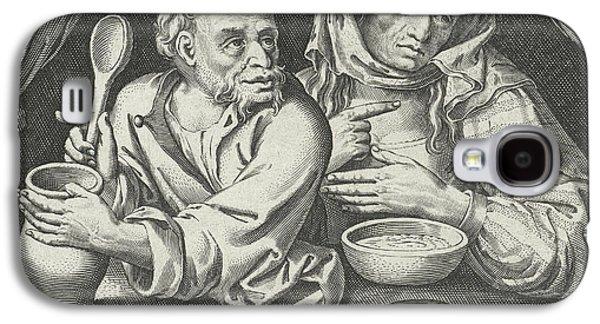 Man And Woman Eating Porridge, Nicolaes De Bruyn Galaxy S4 Case by Nicolaes De Bruyn And Claes Jansz. Visscher (ii)