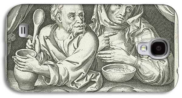Man And Woman Eating Porridge, Nicolaes De Bruyn Galaxy S4 Case by Nicolaes De Bruyn And Pieter Goos