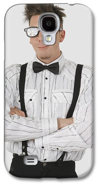 Man Wearing Sunglasses Suspenders And Galaxy S4 Case
